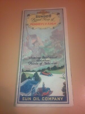 vintage Sunoco Road Map Of Pennsylvania Illustrated Very Nice 1930s?
