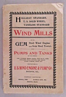 U.S. Wind Engine CATALOG - circa 1895 ~~ wind mills, windmills, farming, pumps