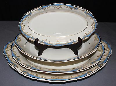 """Carvel 1960's Set of 4 """"Federal Shape"""" Syracuse China Oval Serving Platters"""
