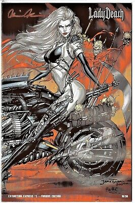 Lady Death Extinction Express 1 FURIOUS edition sign Pulido COA FREE UK POST NM