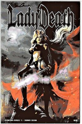 Lady Death Extinction Express 1 TRIUMPH edition sign Pulido COA FREE UK POST NM