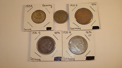 Lot of 5 German Silver Coins - 1 Empire & 4 3rd Reich - You Grade It (#Nw45)