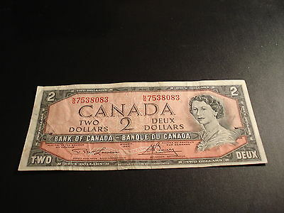 1954 - Bank of Canada $2 note - two dollar bill - NG7538083