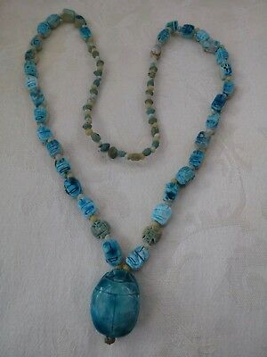 vintage antique Egyptian bead necklace scarabs  center scarab