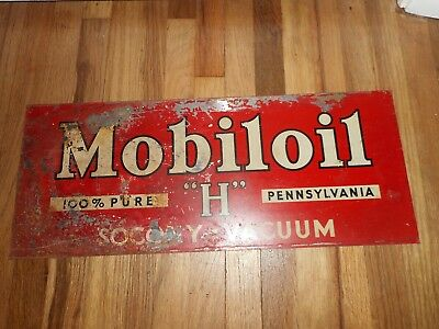 Vintage RARE Mobil H Oil Socony Vacuum Gas Station Advertising SIGN Pegasus
