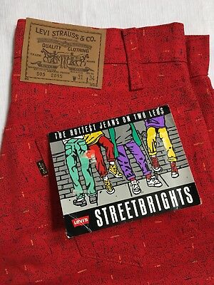 Vintage Levis Street Brights 31x34 505 Straight Leg Red 80's Deadstock Rare NEW