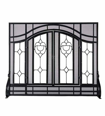 Rustic Fireplace Screen Flat Elegant Beveled With Glass Doors Home Heating New