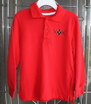 Boys Red Pull Over Shirt Long Sleeve Collar Size 5T NWT Holiday Editions Christm