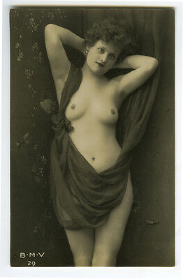 c 1910 Sexy French Part NUDE YOUNG BEAUTY Young Lady Risque photo postcard