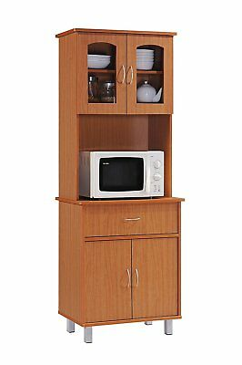 White Tall Microwave Cabinet Stand Hutch Pantry Cart Storage Cupboard Kitchen G