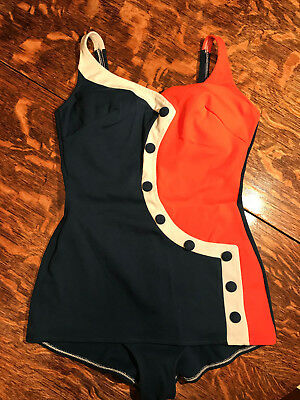 1950's Vintage Nautical Button Asymmetrical Swim Bathing Suit L
