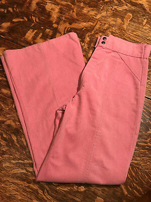 60's 70's High Waist Pink Wide Leg Corduroy Pants S