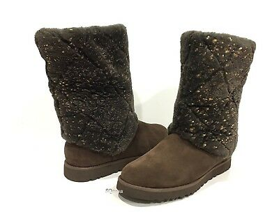 ccad46bb3c0 UGG 1015638 MICHY Luxe Quilt Women'S Boots Chocolate Brown Suede -Us Size 7  -New