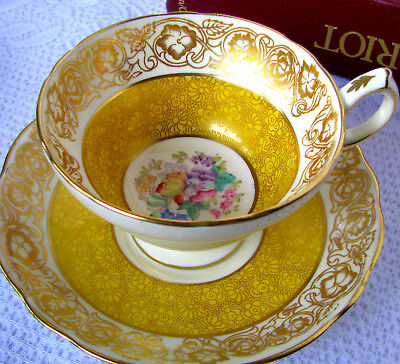 Hammersley Yellow and Gold Chintz Floral Center Teacup & Saucer, Hand Painted
