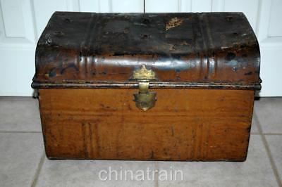 Antique Vintage Small Metal Steamer Travel Trunk 21x14x14