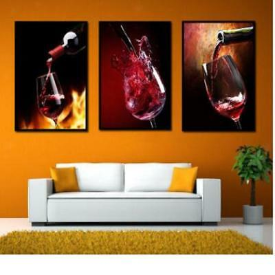 3Pcs Canvas Home Decor Wall Abstract Art Painting Picture Red Wine 30x40cm