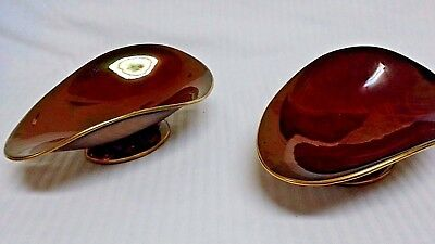 """Vntge. Set Of 2 Carlton Ware England Rouge Royale 7"""" Oval Footed Serving Dishes"""