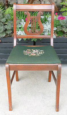 Vintage Lyre Harp Back Mahogany Wood Side Chair Duncan Phyfe Needlepoint PhilaPA