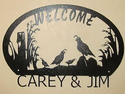 Quail Family 2 Babies  Welcome Sign (Your Name)   Black Powder Coat Finish