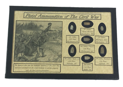 Pistol Ammunition Bullets of The Civil War with Display Case and COA