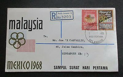 Malaysia ..1968  Mexico  Cover....registered...with Information Booklet
