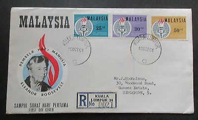 Malaysia ..1964 Roosevelt...reg.. First Day Cover....with Information Booklet