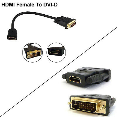 HDMI Female To DVI-D Male Display Monitor Video Cable Adapter Converter HDTV PC