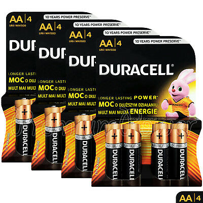 16 x Duracell Duralock AA batteries CopperTop Alkaline 1.5V LR6 MN1500 Pack of 4