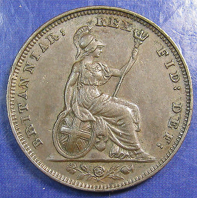 1828 ¼d George IV copper Farthing in a nice high grade