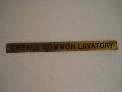 CREW'S COMMON LAVATORY – Marine BRASS Door Sign - Nautical - 12 X 1 INCHES (159)