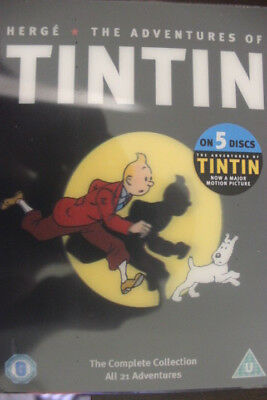 Herge The Adventures Of Tintin 5-Dvd Rare Deleted Pal Anime Cartoon 21 Episodes