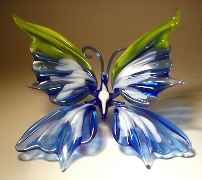 Blown Glass Art Figurine Blue and White with a Yellow Trim BUTTERFLY