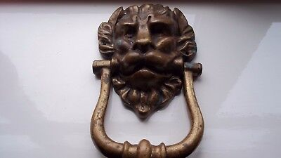 Brass Lion Door Knocker Vintage Reclaimed Piece Extremely Heavy Large Used Patin