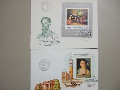 Two Hungary fdc with PAINTING SS