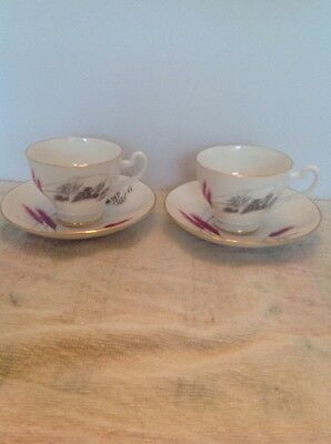 Bone China, Crown, England, Floral Pattern, 2 Saucers  And 2 Tea Cups