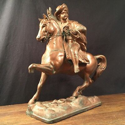 Vintage Buffalo Bill Cody Statue Horse Metal Antique Wild West PRIORITY MAIL