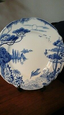 Vintage Arcadia Sol art deco style blue and white plate by J & G Meakin