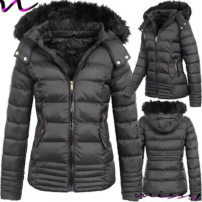 New Womens Ladies Quilted Winter Coat Puffer Fur Collar Hooded Jacket Parka Gamb