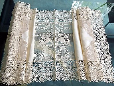 Italian Figural Lace Linen Table Runner Scarf Ecru Hand Embroidery Cherubs Filet