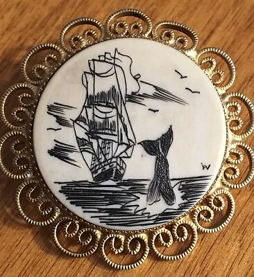 Vintage Scrimshaw Tall Sailing Ship Row  Whale 12K Gold-FILLED Pin Pendant