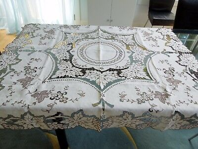 Italian Linen Tablecloth Hand Embroidery Cutwork Ecru Brown Vine Leaves Grapes
