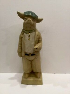 """""""2002 H.P.I"""" Pig Statue Dressed In A Newsboy Cap - 15"""" Tall"""