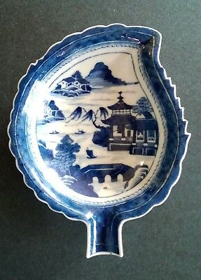 Chinese Export Canton Blue & White Leaf Dish-Desireable Deep Blue