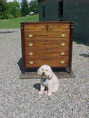 1890s SHERATON MAHOGANY CHEST of DRAWERS PINEAPPLE REEDED COLUMNS PITTSBURG PA