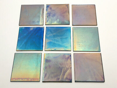 Margery Clinton Ceramic Tiles Lustre Glaze Irridescent Set of 9 Glazed Pottery