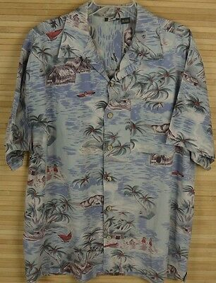 Mens Vintage Hawaiian Shirt Luau Size Large Nice Buttons By Metro One (K
