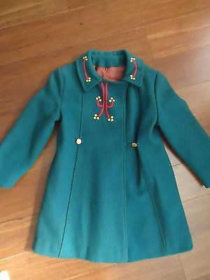 Vintage Wool Girl's Dress Christmas Coat, Size Measurments in Description, GUC!