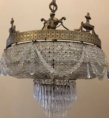 Antique French Empire Crystal Beaded Wedding Cake Chandelier 1910's
