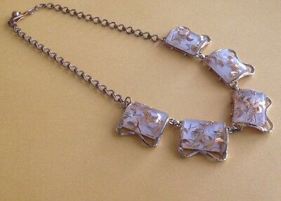Vintage 1960's Mid Century Clear Lucite Acrylic Gold Fleck Necklace Gold Tone