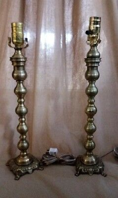 Vintage Pair (2) Brass Candlestick Table Lamps Solid Brass